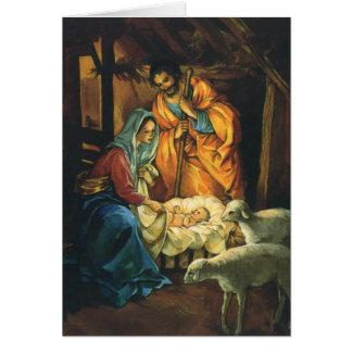 Nativité vintage de Noël, bébé Jésus dans Manger Carte De Vœux