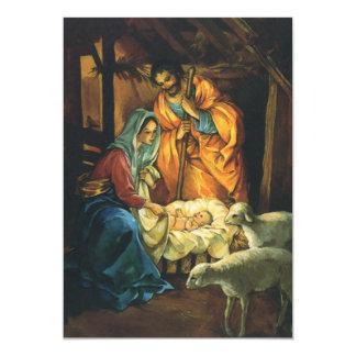 Nativité vintage de Noël, bébé Jésus dans Manger Carton D'invitation