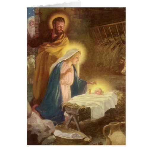 Nativité vintage de Noël, bébé Jésus de Mary Josep Carte De Vœux