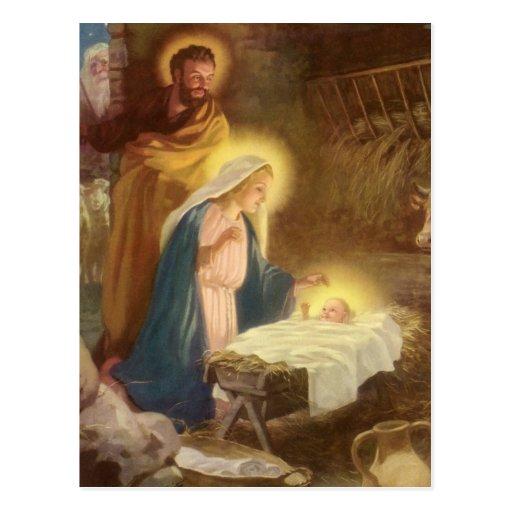 Nativité vintage de Noël, bébé Jésus de Mary Josep Cartes Postales