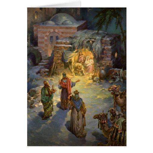 Nativité vintage de Noël Cartes De Vœux
