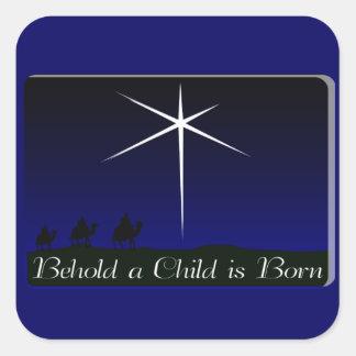 Nativity A Child Is Born Square Sticker