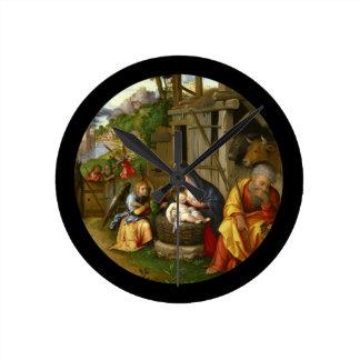 Nativity and Child Angels  c1515 Round Clock