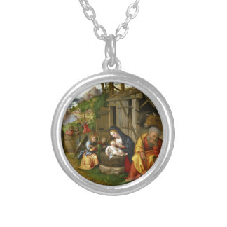 Nativity and Child Angels  c1515 Silver Plated Necklace