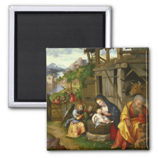 Nativity and Child Angels  c1515 Square Magnet