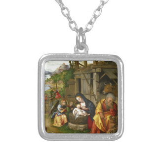 Nativity and Child Angels Silver Plated Necklace