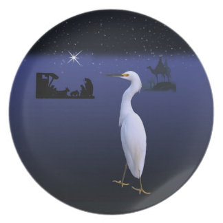 Nativity and Snowy Egret Christmas Plate