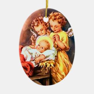 Nativity angels ceramic oval ornament