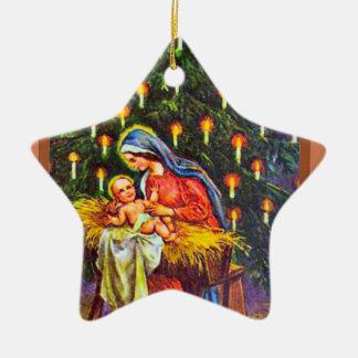Nativity  art ceramic star ornament