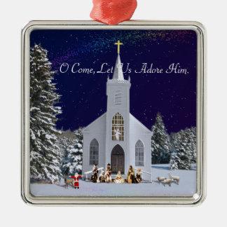 Nativity at Church Metal Ornament