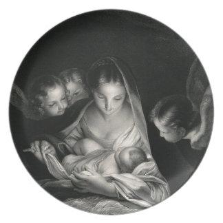 Nativity Baby Jesus Virgin Mary Angels Black White Dinner Plate