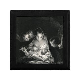 Nativity Baby Jesus Virgin Mary Angels Black White Gift Box