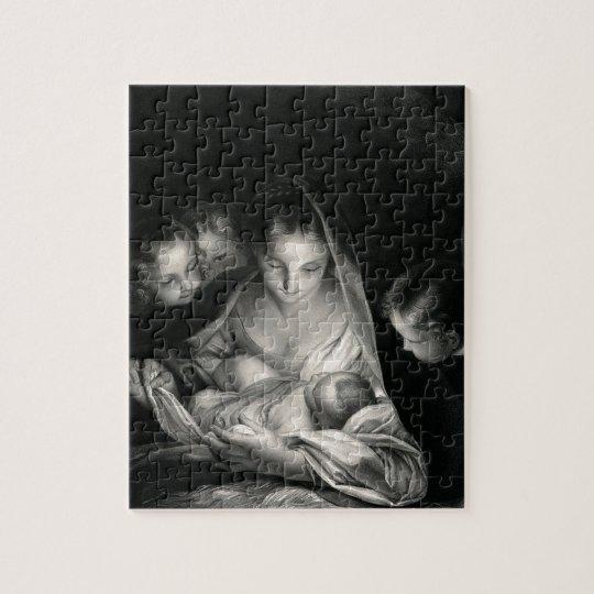 Nativity Baby Jesus Virgin Mary Angels Black White Jigsaw Puzzle