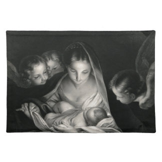 Nativity Baby Jesus Virgin Mary Angels Black White Placemat