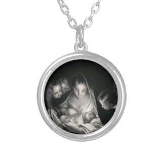 Nativity Baby Jesus Virgin Mary Angels Black White Silver Plated Necklace