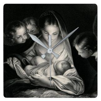 Nativity Baby Jesus Virgin Mary Angels Black White Square Wall Clock