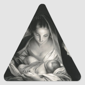 Nativity Baby Jesus Virgin Mary Angels Black White Triangle Sticker