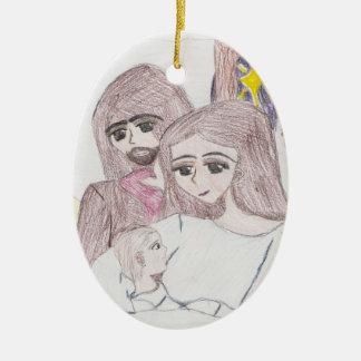 Nativity Ceramic Oval Ornament
