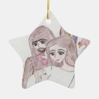 Nativity Ceramic Star Ornament