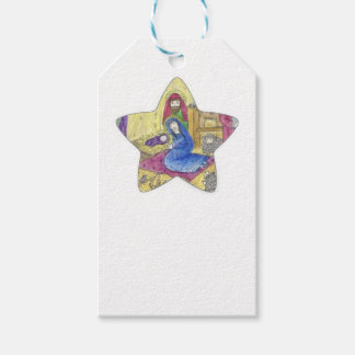 Nativity Christmas: Baby Jesus, Mary  in a manger Gift Tags