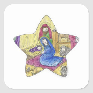 Nativity Christmas: Baby Jesus, Mary  in a manger Square Sticker