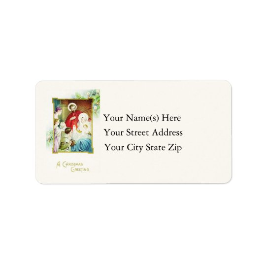Nativity Christmas Greeting Vintage Address Label