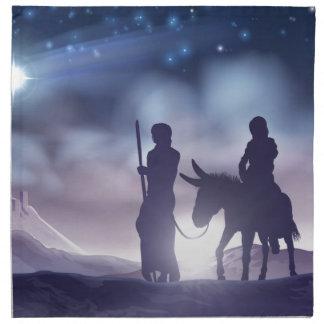 Nativity Christmas Illustration Mary and Joseph Napkin