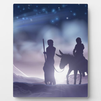 Nativity Christmas Illustration Mary and Joseph Plaque