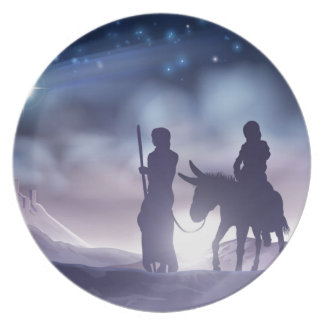 Nativity Christmas Illustration Mary and Joseph Plate