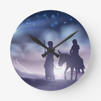 Nativity Christmas Illustration Mary and Joseph Round Clock