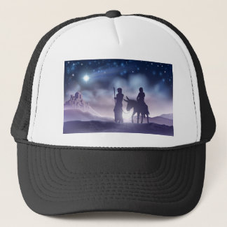 Nativity Christmas Illustration Mary and Joseph Trucker Hat