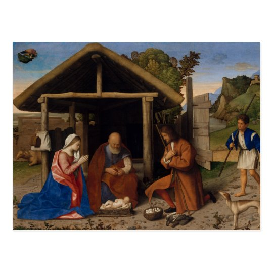 Nativity Crib Adoration of The Shepherds Christmas Postcard