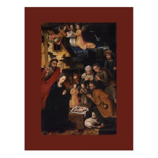 Nativity Crib Adoration of The Shepherds Christmas Postcard