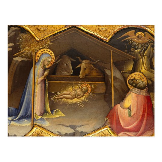 Nativity Crib Blessed Virgin Mary Infant Jesus Postcard