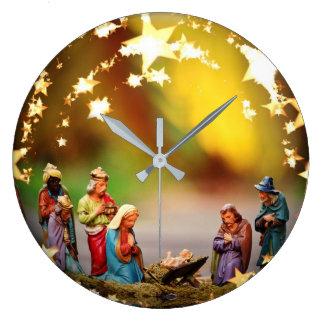 Nativity Crib Virgin Mary Jesus Stars Christmas Large Clock