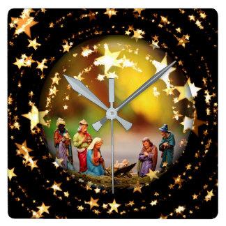 Nativity Crib Virgin Mary Jesus Stars Christmas Wallclocks