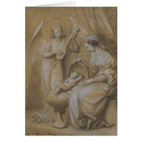 Nativity Drawing Virgin Mary Baby Jesus Angel Crib Card
