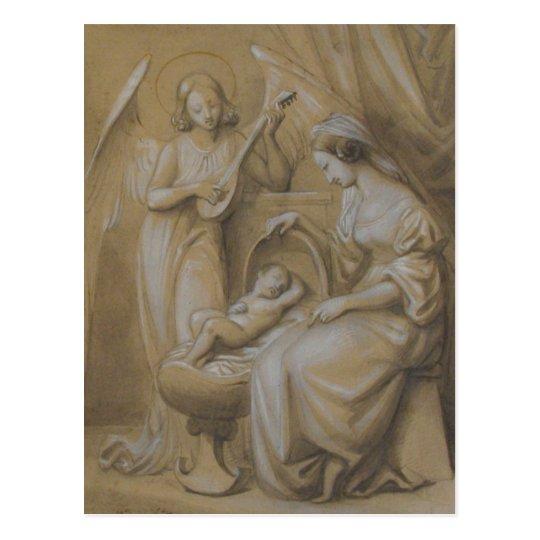 Nativity Drawing Virgin Mary Baby Jesus Angel Crib Postcard