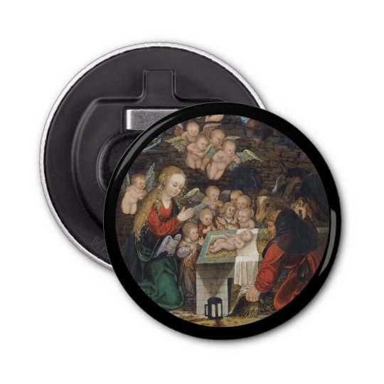 Nativity Featuring Cherubs Button Bottle Opener