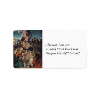 Nativity Featuring Cherubs Label