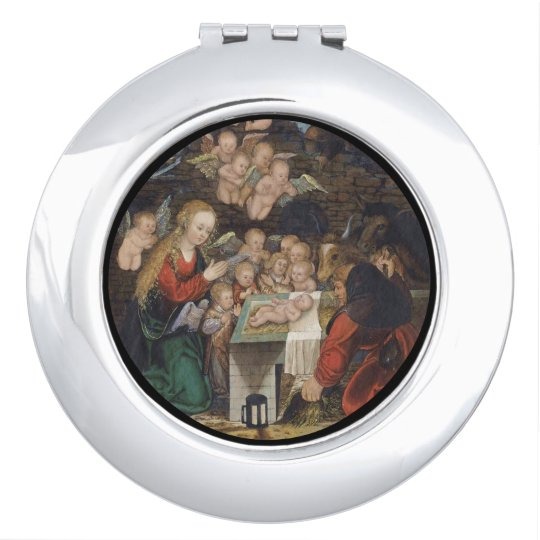 Nativity Featuring Cherubs Makeup Mirrors