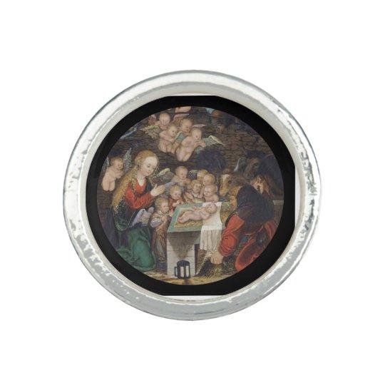 Nativity Featuring Cherubs Rings