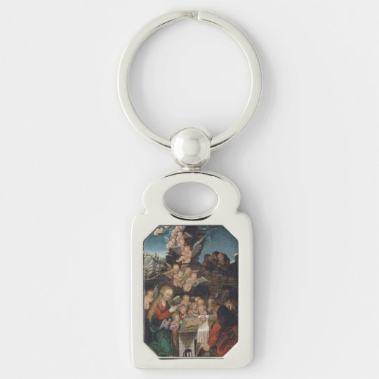 Nativity Featuring Cherubs Silver-Colored Rectangle Keychain