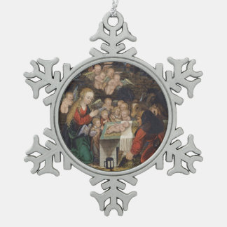 Nativity Featuring Cherubs Snowflake Pewter Christmas Ornament