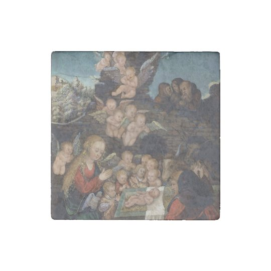 Nativity Featuring Cherubs Stone Magnets