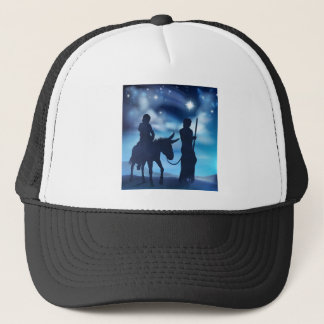 Nativity Mary and Joseph Christmas Illustration Trucker Hat