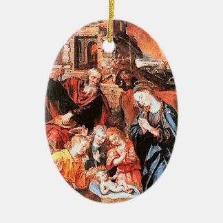 Nativity, medieval ceramic oval ornament