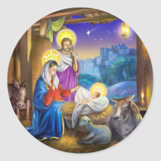 Nativity of Jesus with Josef and Mary, cows, donky Round Sticker