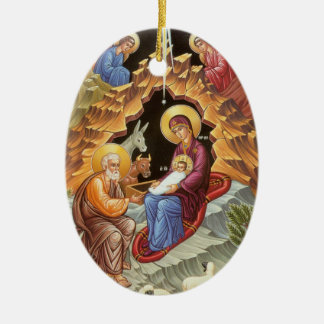 Nativity of Our Lord and Savior Jesus Christ Ceramic Oval Ornament
