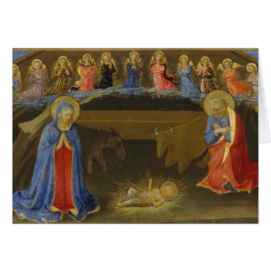 Nativity Old Painting Angels Mary Jesus Christmas Card